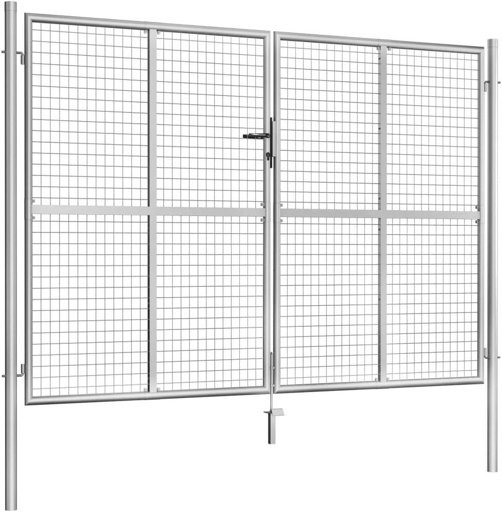 vidaXL Puerta de jardín, puerta de vallas, puerta de jardín, puerta de valla de jardín, puerta doble, puerta de doble hoja, acero galvanizado, 306 x 225 cm, color ...