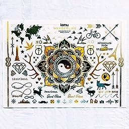 Boho Gypsy Hipster Flash Tattoos - Huge Golden Mandala - Spiritual Traveller Metallic Tattoos