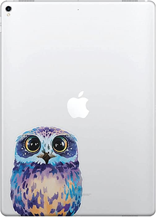 FINCIBO 5 x 5 inch Blue Owl Removable Vinyl Decal Stickers for iPad MacBook Laptop (Or Any Flat Surface)