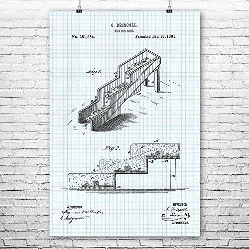 (Gold Sluice Box Poster Print, Mining Gift, Prospecting, Placer Mining, Rocket Box, Gold Digger, Treasure Hunter Graph Paper (11