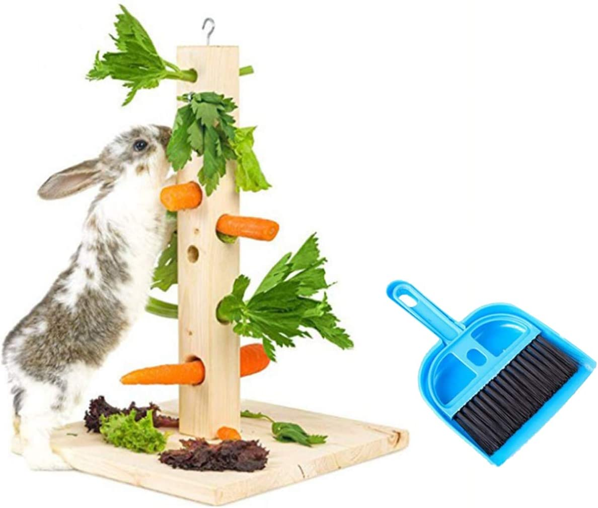 Tfwadmx Rabbit Standing Hay Feeder Rack Bunny Wooden Food Manager Activity Center with Cleaning Set Cage Accessories for Chinchilla Guiniea Pig and Other Small Animal
