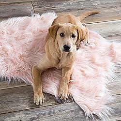 "North End Décor Faux Fur Area Rug, Pink Sheepskin 24""x36"""