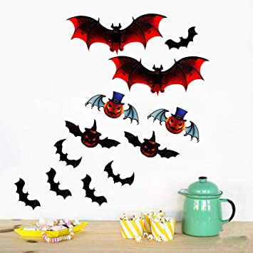 12 pcs Halloween Party Supplies Decorations Window Decor Scary Bats Wall Decals