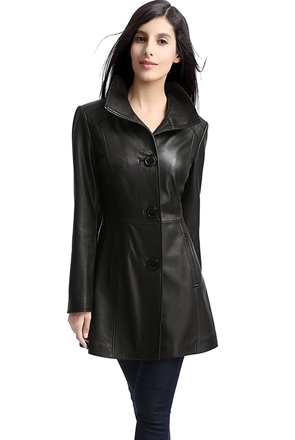 Number Seven Long Leather Trench Coat for Women and Ladies
