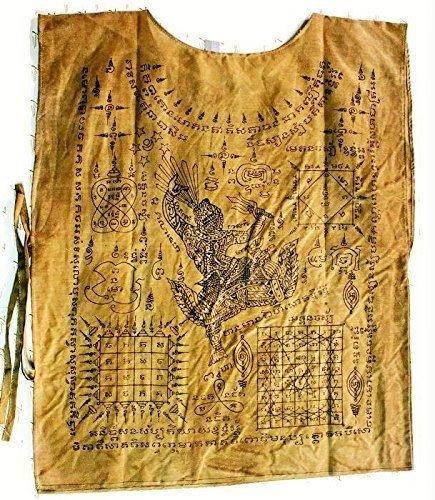 (Brown T- Shirt Sleeveless Talisman Yantra Thai Buddha Amulet Antique Thai Style Buddha Amulet With Special Gift)