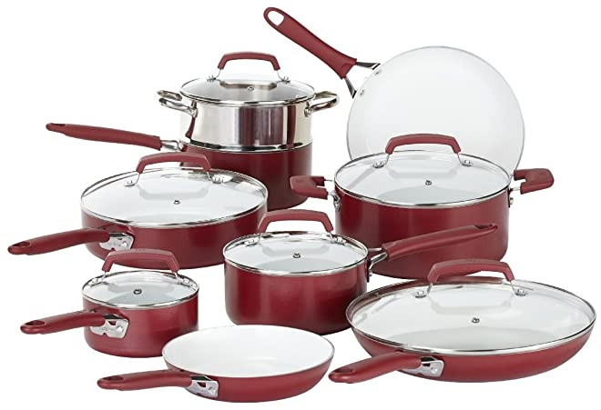 WearEver C943SF Pure Living Nonstick Ceramic Coating Scratch-Resistant PTFE PFOA and Cadmium Free Dishwasher Safe Oven Safe Cookware set, 15-Piece, Red