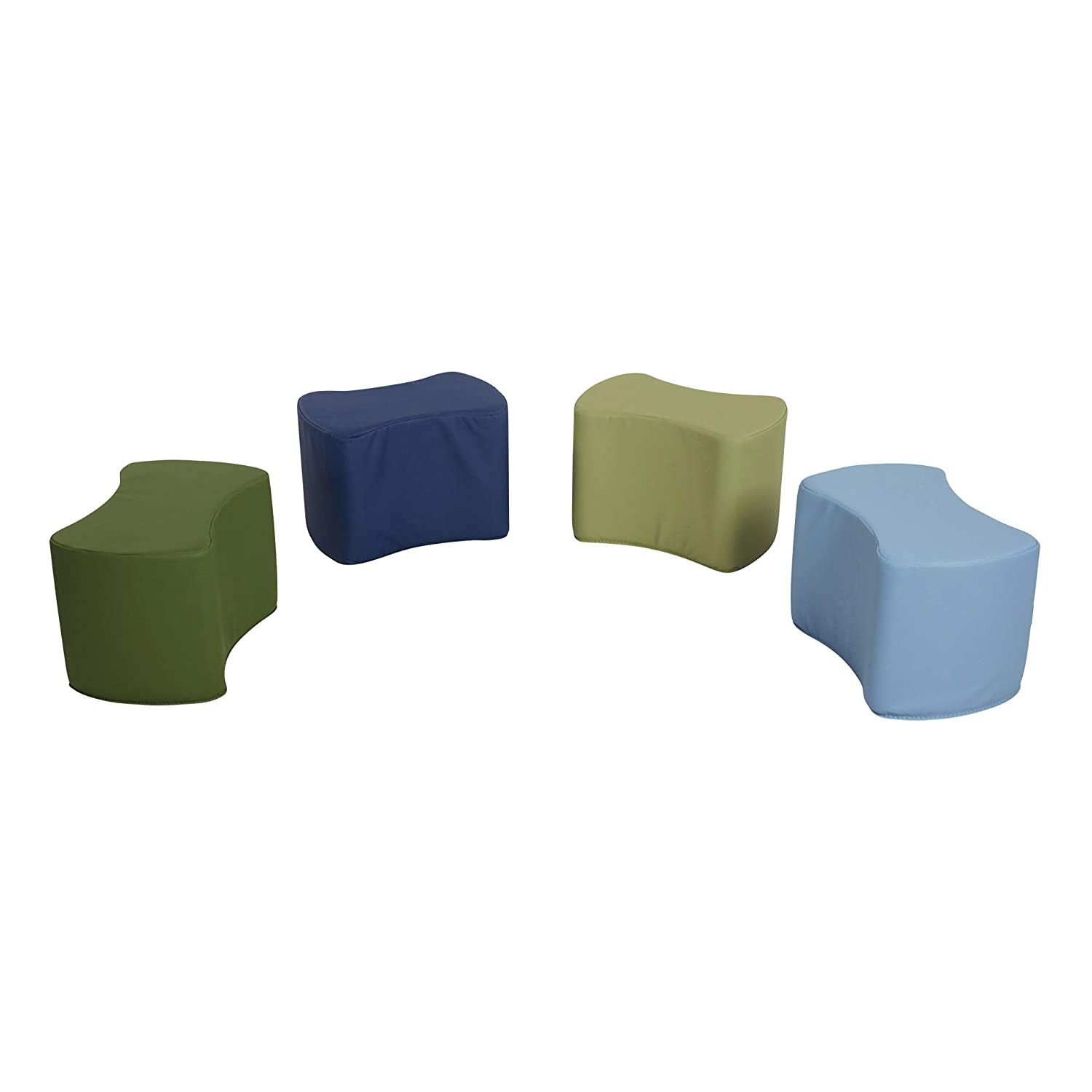 Sprogs Foam Soft Flexible Seating - Bow Tie Stool Set for Toddlers and Kids- Four Piece Set (10