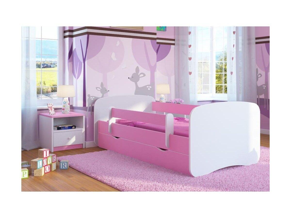 CARELLIA Gemeinsam Kinderbett 80 x 180 cm mit Schubladen – Schrank – Kommode – Nachtschrank und Matratze inkl. Farbe  Rosa