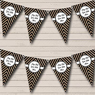 Black And Copper Gold Glitter Chevrons Birthday Party Bunting Banner