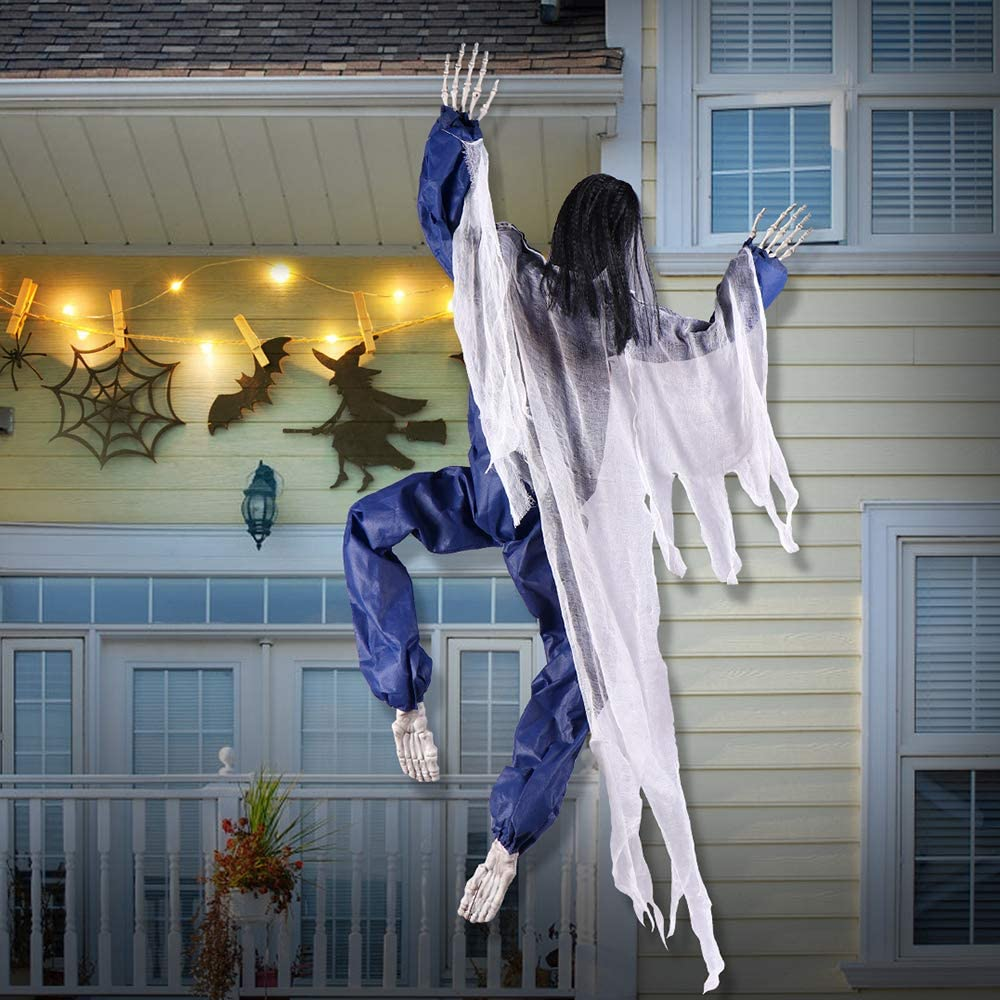 BOBOO1 Halloween Decorations - 63 Inch Life-Size Hanging Climbing Dead Zombie Monster Prop with Metal Hooks, Halloween Haunted House Props Decor Scary Halloween Decor for Outdoor/Tree/Office(Blue)