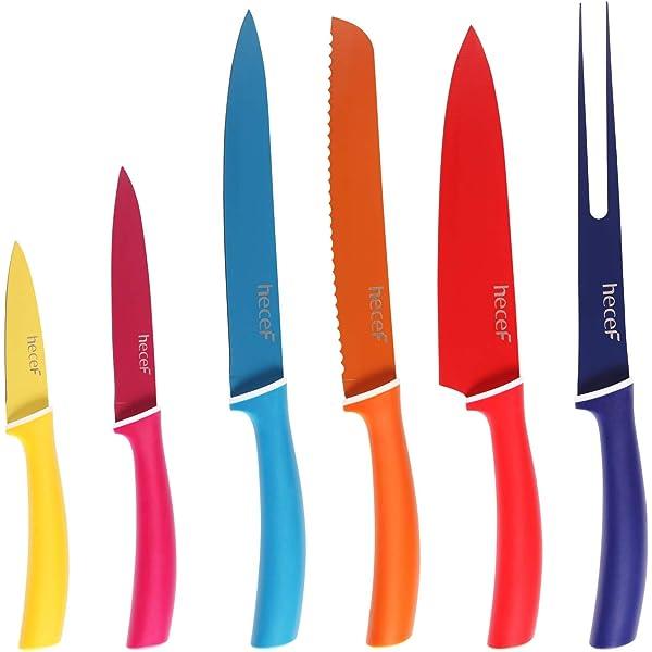 Set de 7 cuchillos con revestimiento de cerámica en color ...