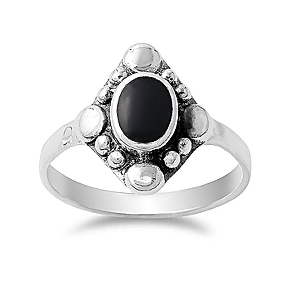 Sterling Silver Simulated Black Onyx Vintage Style Ladies Ring 15mm ( Size 4 to 10 )