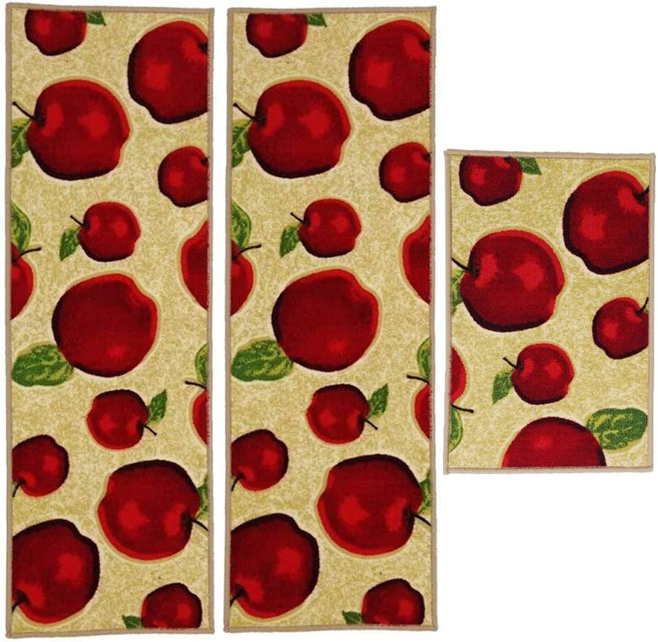 3 Piece Sets Rubber Backing Non-Slip Red Apple Kitchen Rug and Mats Washable Durable Bath Area Rugs Doormat Thin