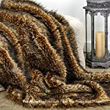 Sumptuous Luxury Faux Fur Throw Blanket - Designer Quality - Fur Accents - Made in America (58''x80'', Tawny Wolf)