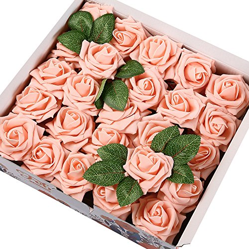 Febou Artificial Flowers, 50pcs Real Touch Artificial Foam Roses Decoration DIY for Wedding Bridesmaid Bridal Bouquets Centerpieces, Party Decoration, Home Display (Delicate Type, Pink)