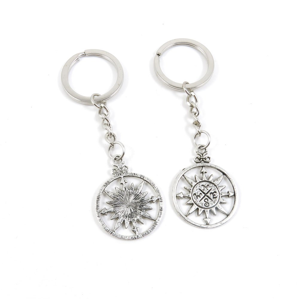 100 Pieces Keychain Door Car Key Chain Tags Keyring Ring Chain Keychain Supplies Antique Silver Tone Wholesale Bulk Lots R3OE4 Compass