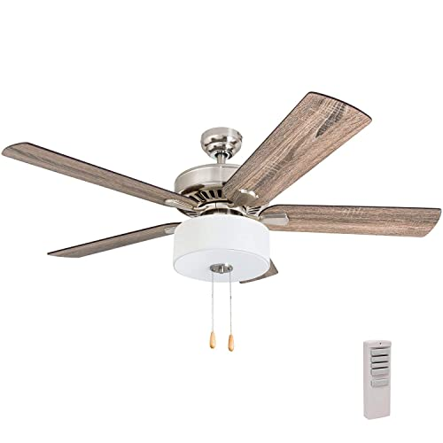 Prominence Home 50767-01 Canyon Lakes Farmhouse Ceiling Fan 3 Speed Remote , 52 , Barnwood Tumbleweed, Brushed Nickel