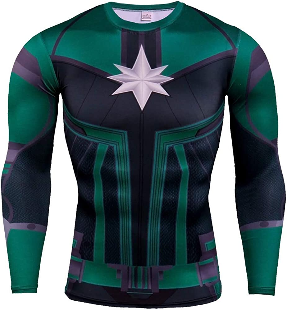 Cosfunmax Super Hero Compression Sports Shirt Men's Fitness Tee Gym Shirt Quick Dry Base Layer