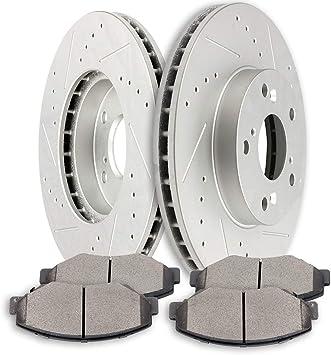 Ceramic Brake Pads For 2002-2004 Honda CR-V Front Rear Drill//Slot Brake Rotors Kit