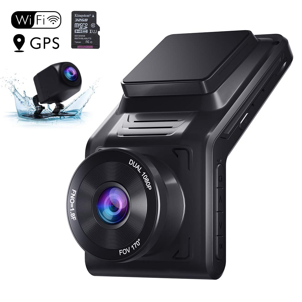 AKASO Dash Cam Front and Rear, Dual 1080P Car Dash Camera (2K Single Front) with 32 GB TF Card, 2'' IPS Screen, 170°Wide Angle, Wi-Fi, External GPS, Loop Recording, Night Vision, Parking Mode, G-Sensor by AKASO