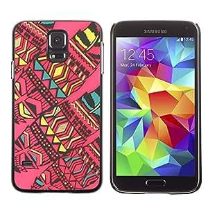 Be Good Phone Accessory // Dura Cáscara cubierta Protectora Caso Carcasa Funda de Protección para Samsung Galaxy S5 SM-G900 // abstract native American art quilted pink
