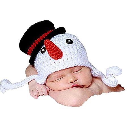 Pixnor Muñeco de nieve sombrero fotografía Prop del Knit del bebé recién nacido niña niño Crochet