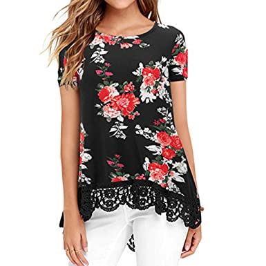 4c6627cad00554 Snowlily Blouse for Women,Summer Fashion Shirt Casual Hem Lace Stitching  Short Sleeve Shirt Elastic