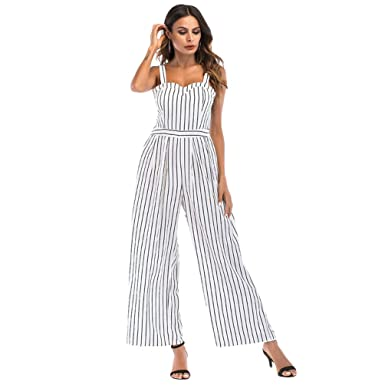 2ff77f1890 LINNUO Womens Jumpsuit Office Day Playsuit Striped Rompers Backless Overalls  Casual Loose Wide Leg Pants with Bow One Piece Suit  Amazon.co.uk  Clothing