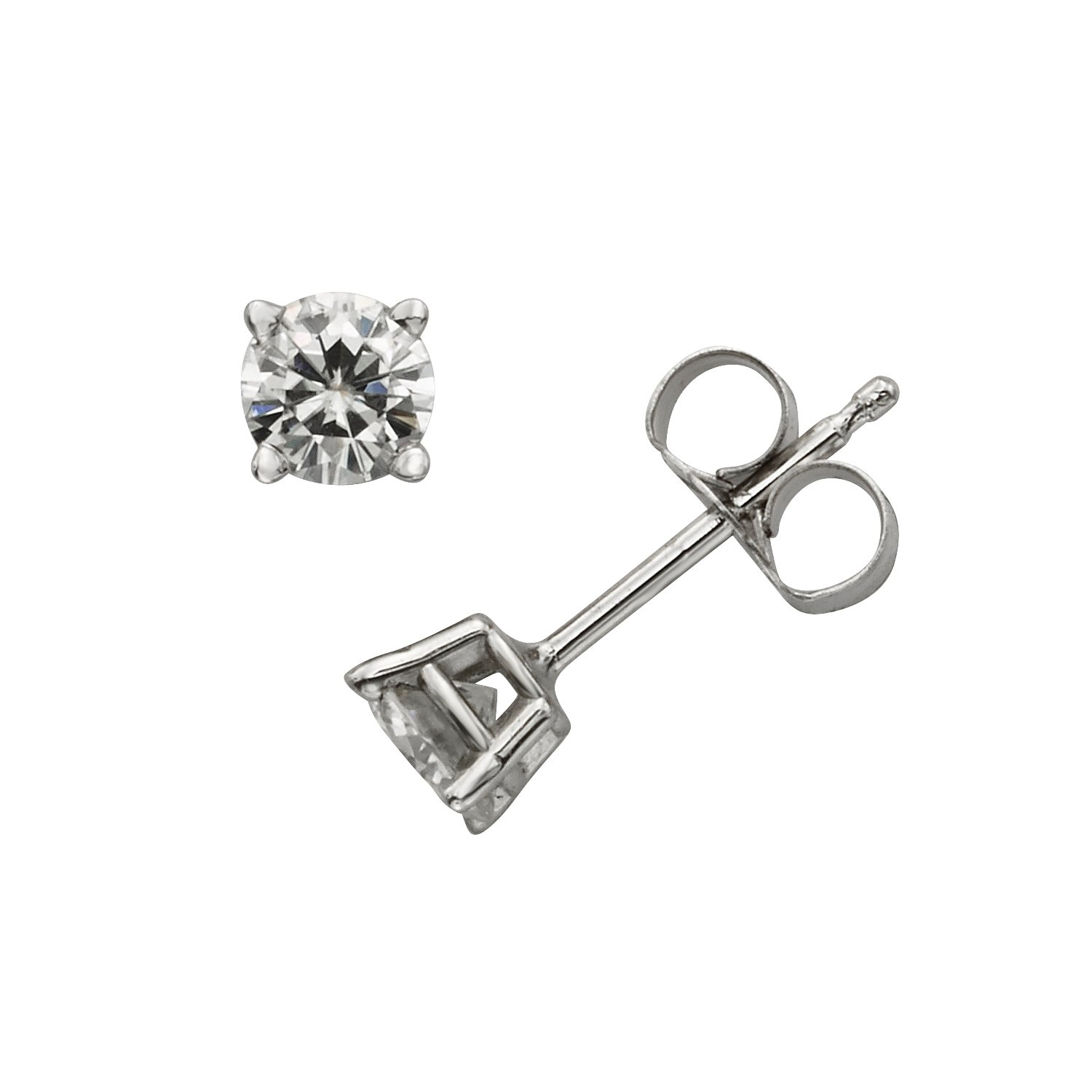 gold brilliant stud dew earrings by charles round forever moissanite white pin
