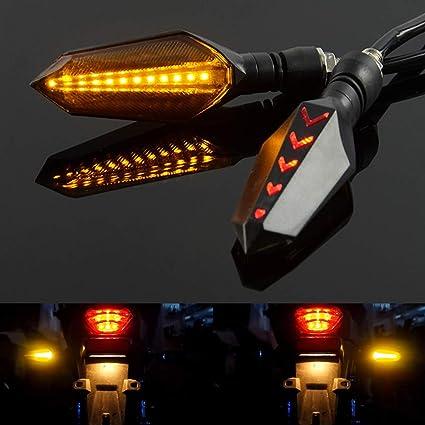 blanc pour clignotants, ambre pour clignotants Taben Feux clignotants universels pour moto Harley Cruiser Honda Kawasaki BMW Yamaha Suzuki