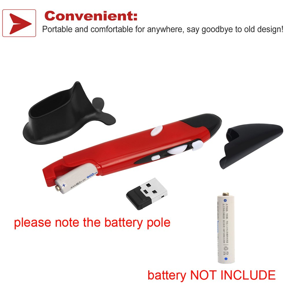 Lcyyo@ PR-03 Portable 2.4G Wireless Adjustable 800//1200//1600DPI USB Optical Pen Mouse with Pen Stand for PC Computer Desktop Notebook Laptop Red