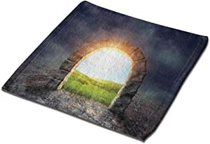 "Microfiber Cleaning Cloth Washcloths Hand Towel 13"" x 13"" (2Pack), Mysterious Entrance to New Life Theme with Greenland Wildflowers and Sunbeams"
