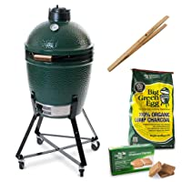 Big Green Egg Starterset Medium Grill-Set grün Keramik XXL Grill Zusammenstellung Garten Grill-Set ✔ Lenkrollen mit Bremse ✔ Deckel ✔ oval ✔ rollbar ✔ stehend grillen ✔ Grillen mit Holzkohle ✔ mit Rädern