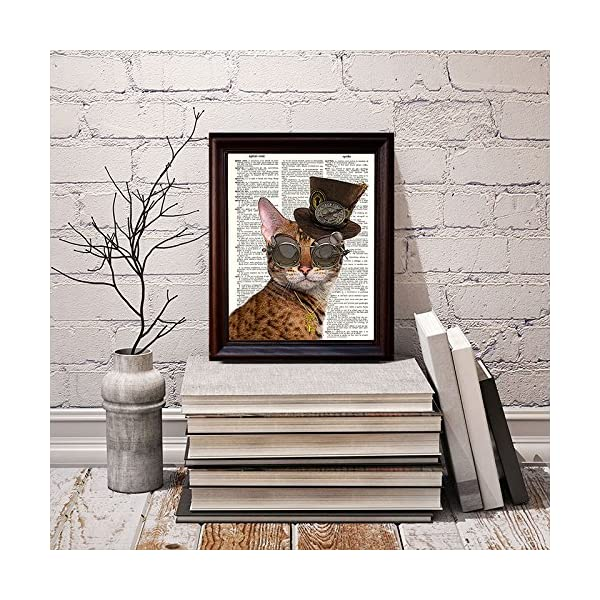 Fresh Prints of CT Dictionary Art Print - Steampunk Clockwork Kitty Cat - Printed on Recycled Vintage Dictionary Paper… 5
