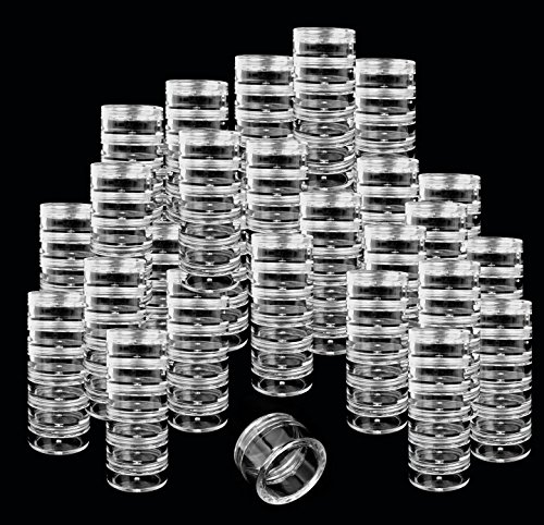 Beauticom 24 Pack 144 Pieces 5G 5ML Stackable Round Transparent Plastic Jars for Herbs, Spices, Tea Leaves, Cooking Oils