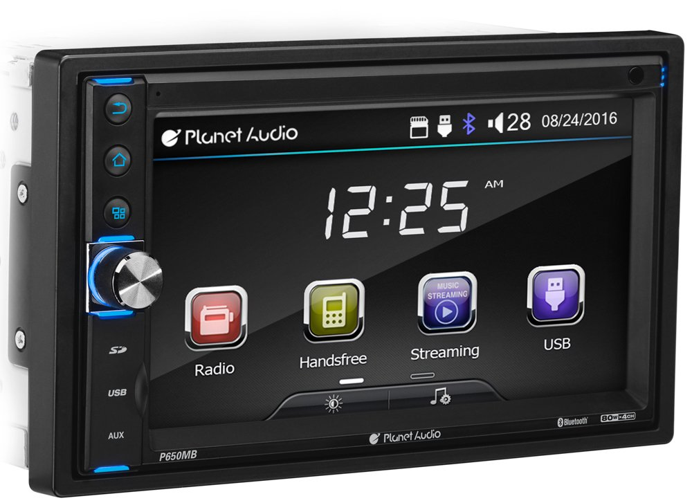 Planet Audio P650MB Double Din, Touchscreen, Bluetooth, MP3/USB/SD AM/FM Car Stereo (No CD/DVD) 6.5 Inch Digital LCD Monitor, Wireless Remote