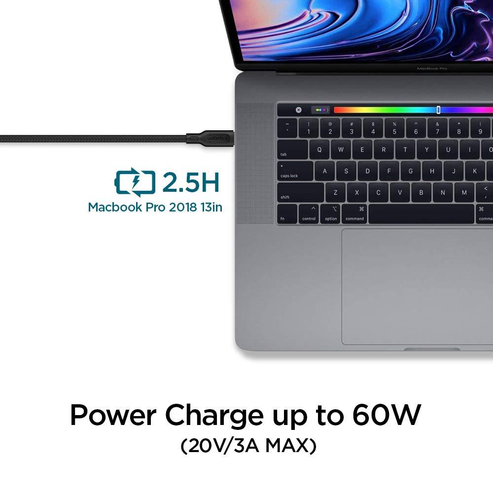 60W, 480Mbps 1.5m per MacBook,iPad PRO,Galaxy,Huawei,Pixel,OnePlus Spigen Cavo USB-C a USB-C 2.0 Duraturo trasferimento Dati Intrecciato in Cotone e Caricabatterie Solo USB-C Compatibile