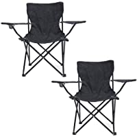 QOZY Folding Chair 2 Pack, Camping Fishing Quad Chair, Foldable Beach Garden Lounger with Cup Holder, Large Steel Frame…