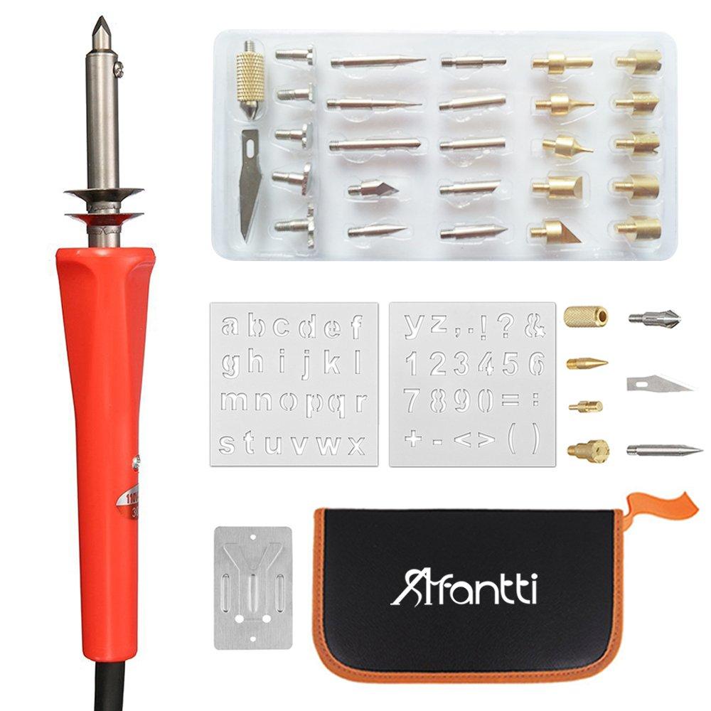 33 Tips Afantti 38 Pcs Wood Burning Pen Kit Professional Woodburning Tool Pyrography Wood Burner Set for Adult Starter Beginner Crafts with Case 2 Stencils
