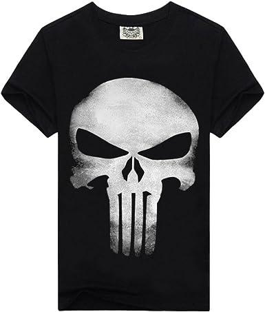 Kairuun Hombre Camisetas Divertidas Calavera Hip-Hop T-Shirts Verano Punk Cráneo Manga Corta tee Tops: Amazon.es: Ropa y accesorios