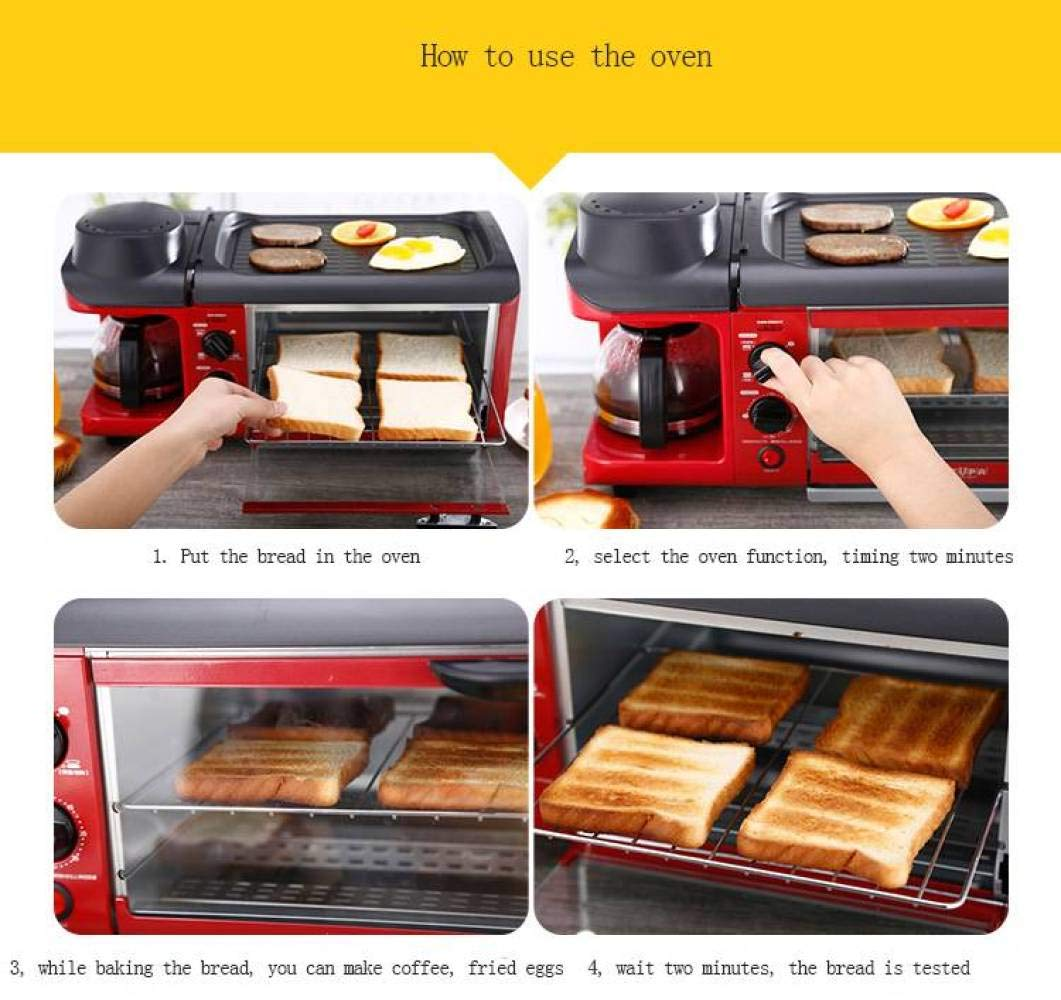 BBG Breakfast Machine, Home Oven, Bread Machine, teppanyaki Three-in-one,red,One Size by BBG (Image #3)