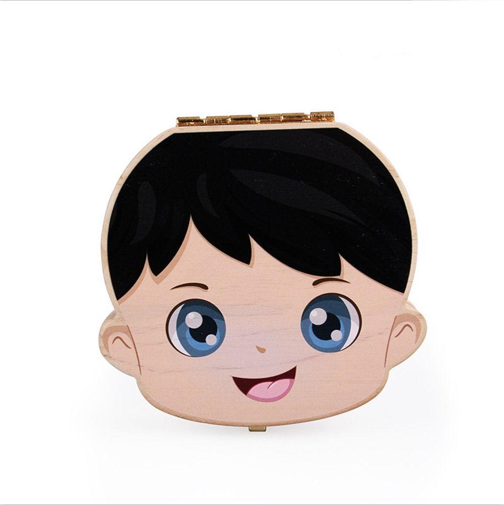 Aikesi Lovely Baby Teeth Save Box Wooden Souvenir Box Personalized Storage Box Durable (Boy's)