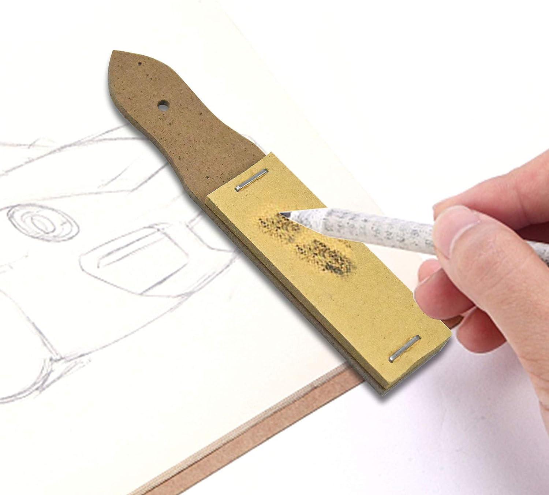 6tk Sandpapiersch/ärfer Schleifpapier Anspitzer Bleistiftzeiger Sch/ärfblock Stift Spitze Polierwischer Bleistift Blending Stump Tortillion Skizzieren Zeichenutensil f/ür Studenten Skizzieren Zeichnen