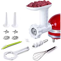 Antree Meat Grinder Attachment For KitchenAid Stand Mixers Includes 2 Plates 2 Grind Blades 2 Sausage Filler Tubes, and…