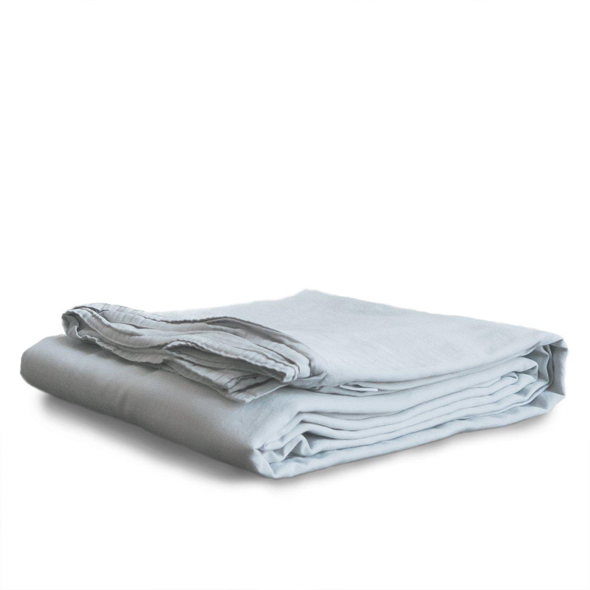 Ginkova Stonewashed Flat Sheet   100% Soft Cotton (Harbor Mist, Full/Queen)