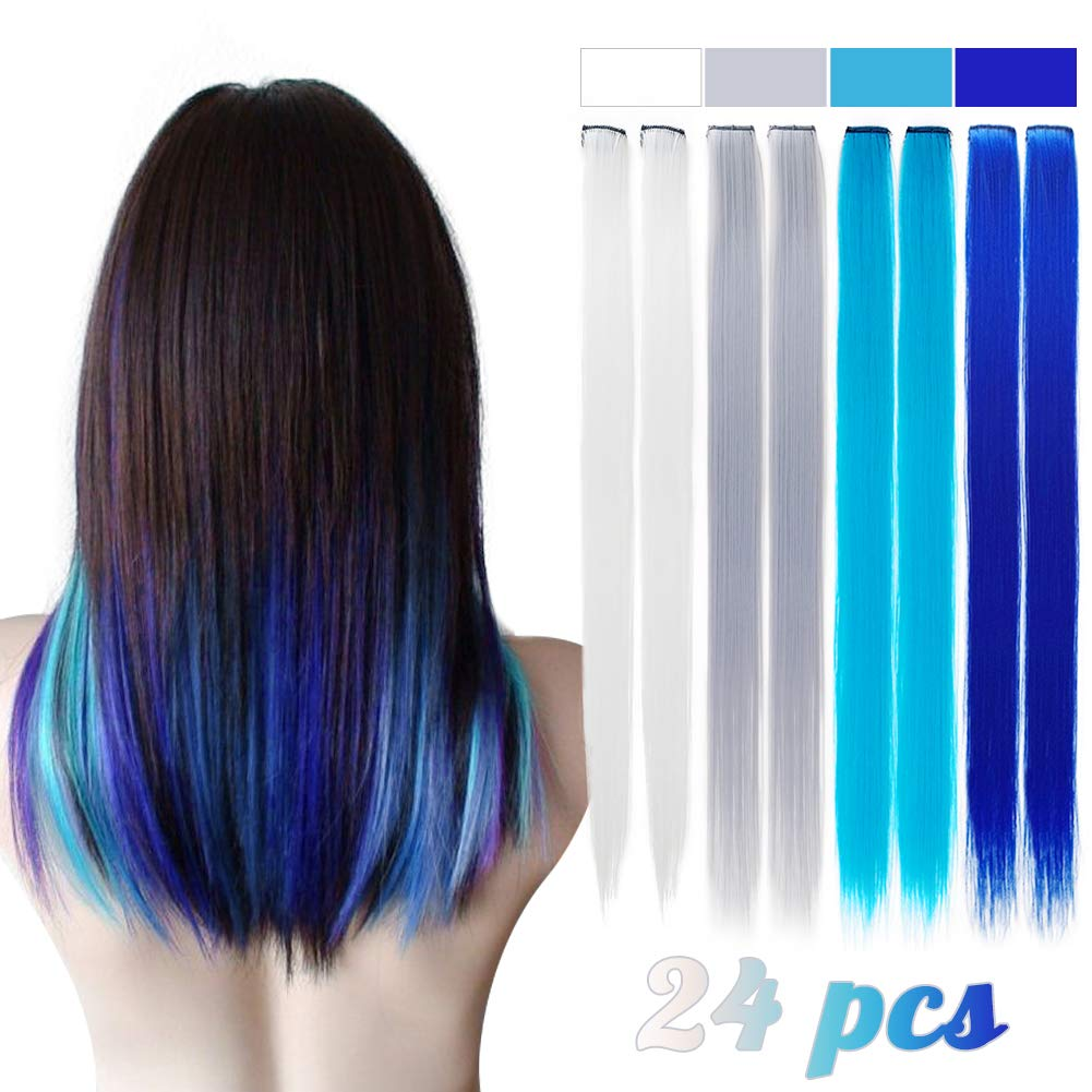 20 Colored Clip In Hair Extensions For Girls 24 Pcs Straight Fashion Hairpieces For Party Highlights