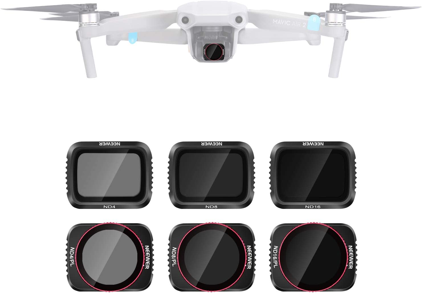 Neewer Camera Lens Filters Compatible with DJI Mavic Air 2 Lens Filter Set, Multi-Coated Filters Pack Accessories (6 Packs) ND4, ND8, ND16, ND4/PL, ND8/PL, ND16/PL