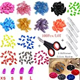 Kathson 100 PCS Soft Pet Cat Nail Caps Claws Cats Paws Grooming Nail Claws Caps Covers of 5 Kinds Different Colors + 5Pcs Adhesive Glue + Cat Nail Clippers (L:fit for 16.5-22lb)