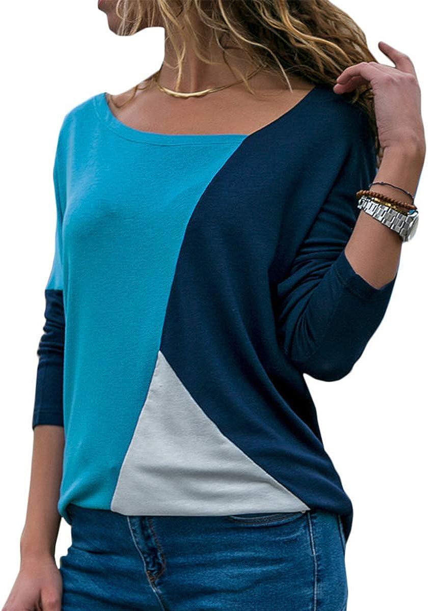 Damen Casual T-Shirt Langarm V-Ausschnitt Irregular Langarmshirt Tunika Top Patchwork Farbblock Bluse Oberteil weich Pullover