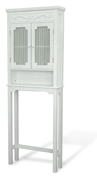 Elegant Home Fashions Lisbon Collection Shelved Bathroom Space Saver, White